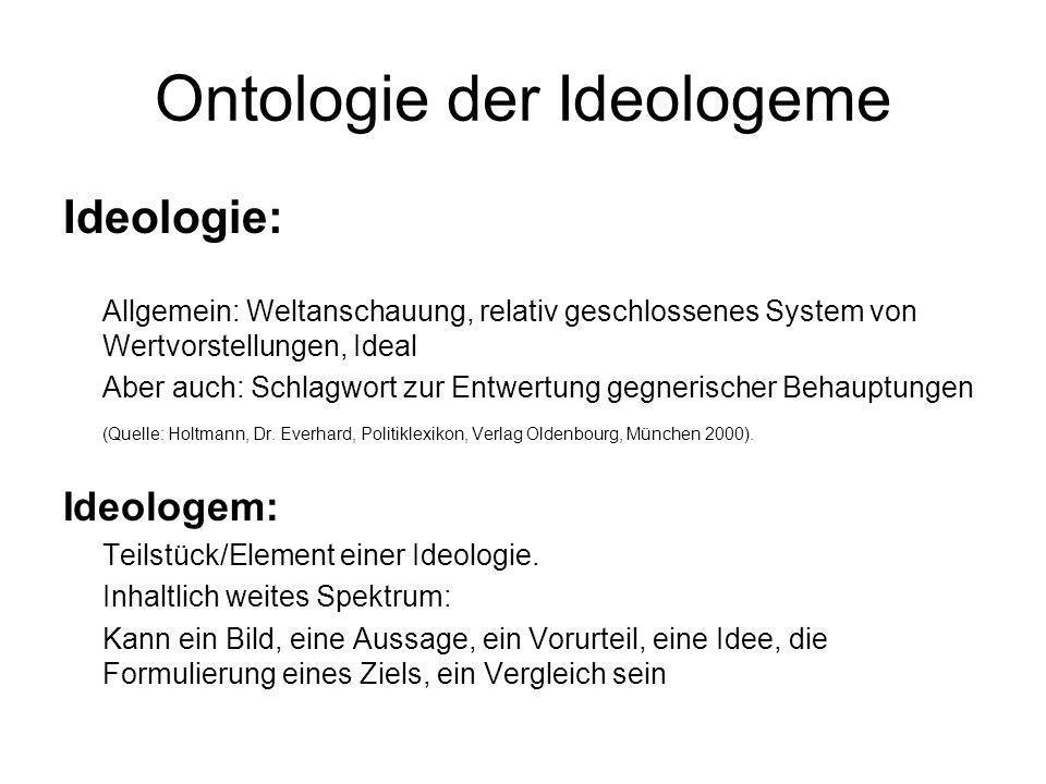 Ontologie der Ideologeme Ideologie: Allgemein: Weltanschauung, relativ geschlossenes System von Wertvorstellungen, Ideal Aber auch: Schlagwort zur Ent