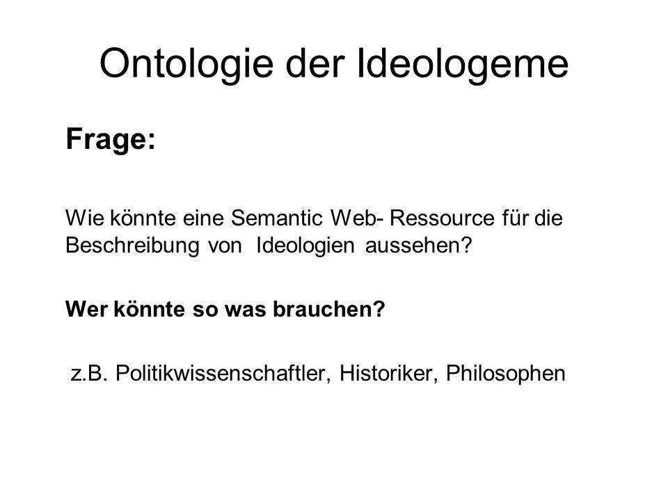 Ontologie der Ideologeme Frage: Wie könnte eine Semantic Web- Ressource für die Beschreibung von Ideologien aussehen? Wer könnte so was brauchen? z.B.