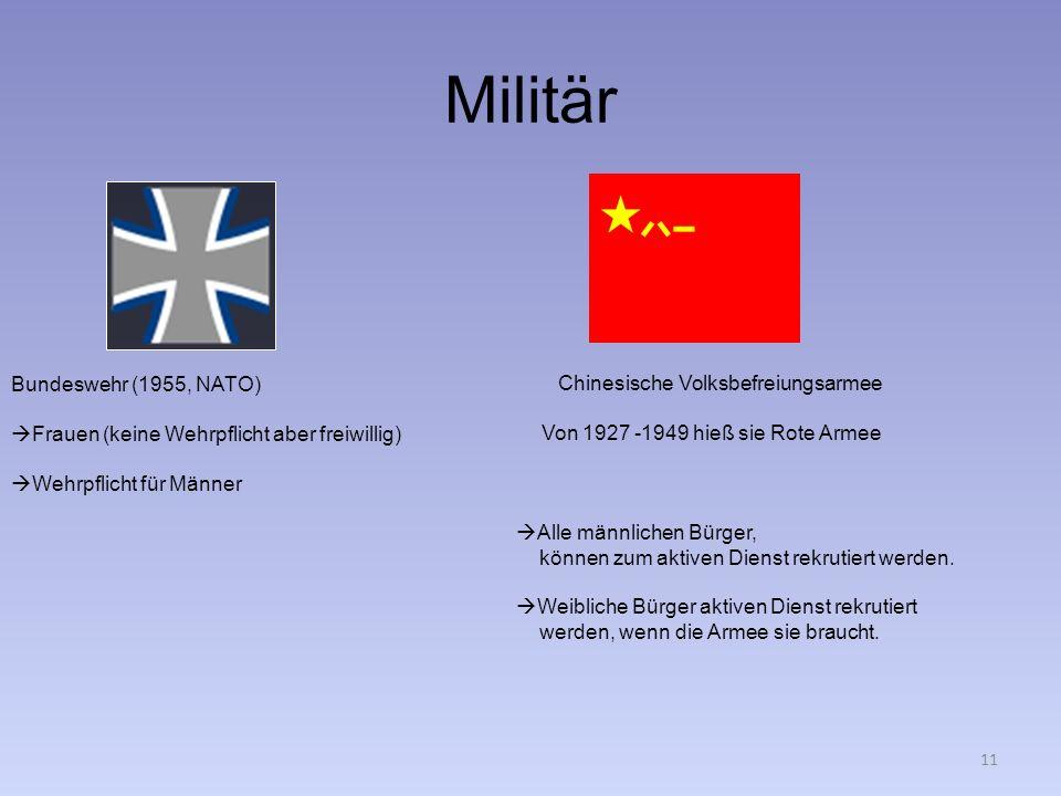Militär Bundeswehr (1955, NATO) Frauen (keine Wehrpflicht aber freiwillig) Wehrpflicht für Männer Von 1927 -1949 hieß sie Rote Armee Chinesische Volks