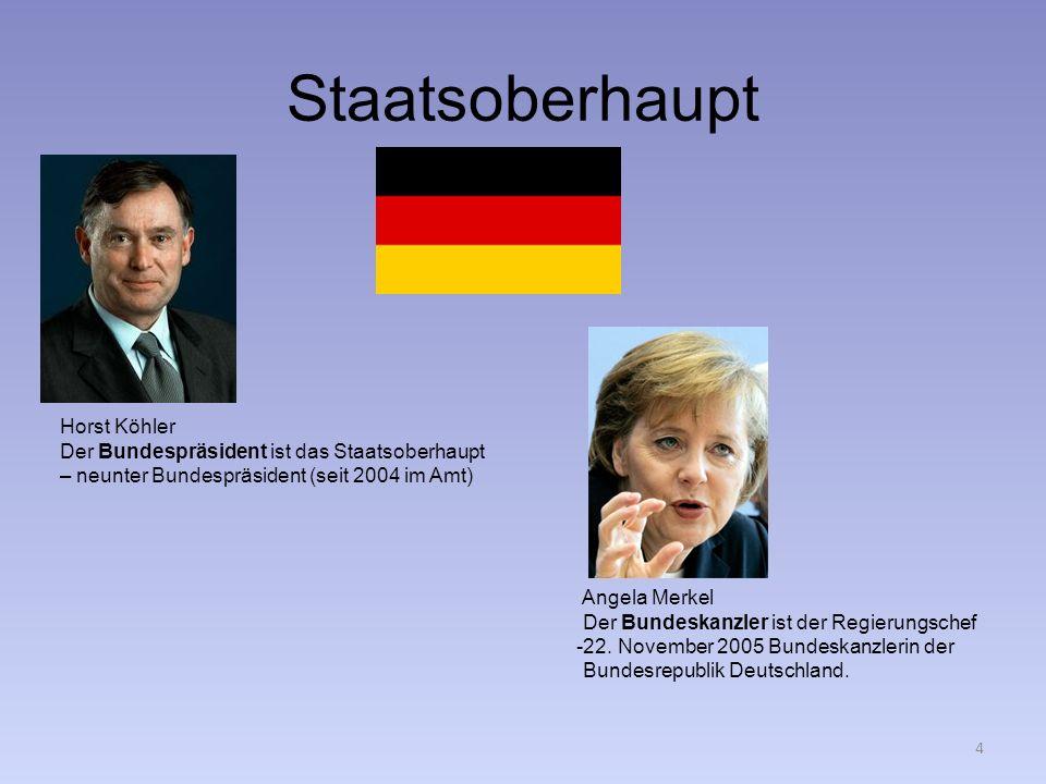 Staatsoberhaupt Horst Köhler Der Bundespräsident ist das Staatsoberhaupt – neunter Bundespräsident (seit 2004 im Amt) Angela Merkel Der Bundeskanzler