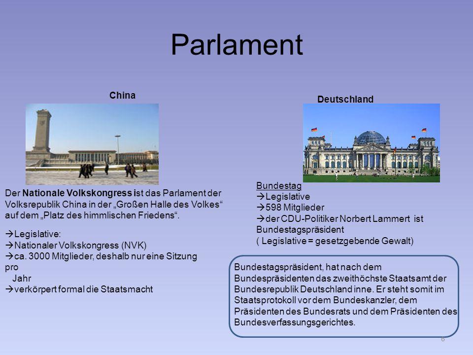 Parlament China Deutschland Bundestag Legislative 598 Mitglieder der CDU-Politiker Norbert Lammert ist Bundestagspräsident ( Legislative = gesetzgeben