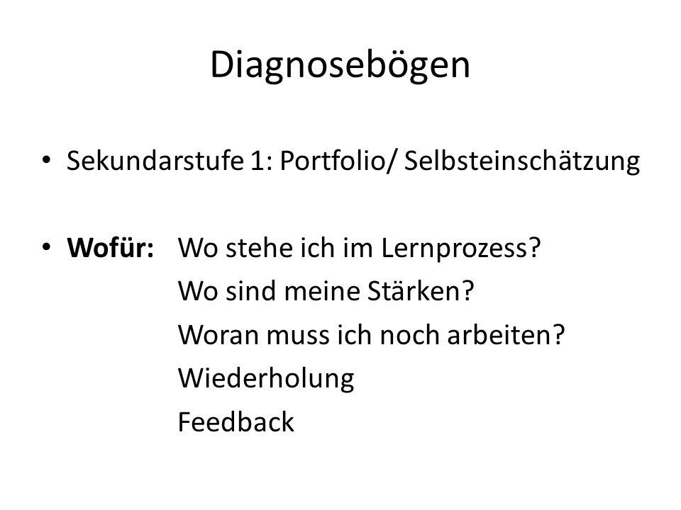 Diagnosebögen Sekundarstufe 1: Portfolio/ Selbsteinschätzung Wofür: Wo stehe ich im Lernprozess.