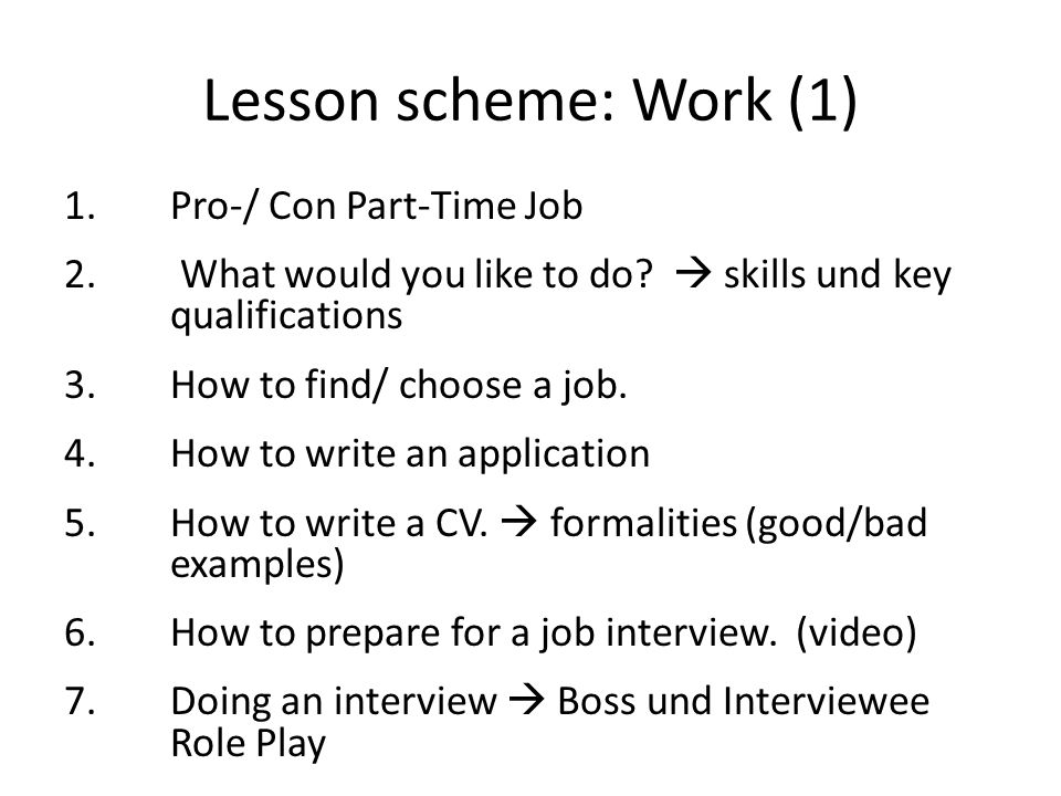 Lesson scheme: Work (1) 1.Pro-/ Con Part-Time Job 2.