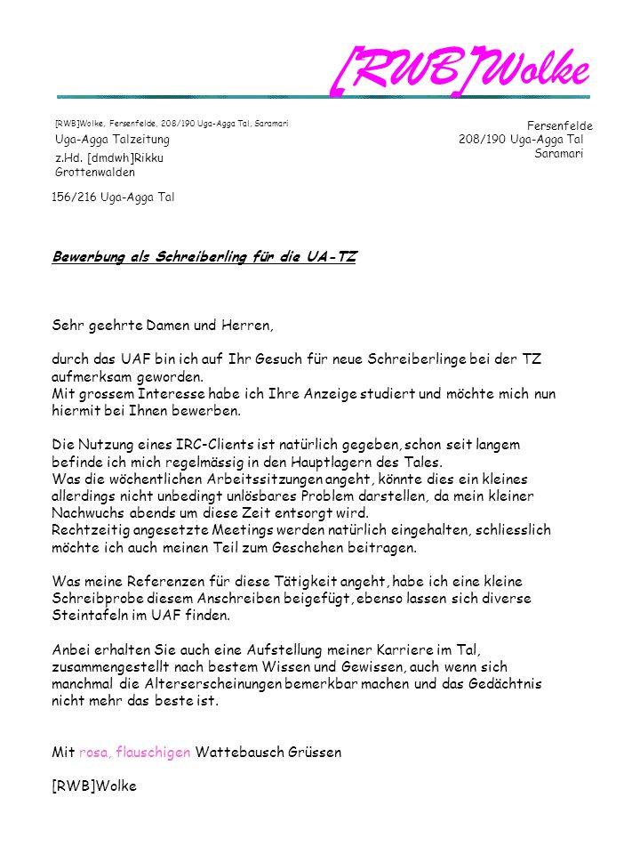 [RWB]Wolke Fersenfelde Uga-Agga Talzeitung 208/190 Uga-Agga Tal Saramari z.Hd.
