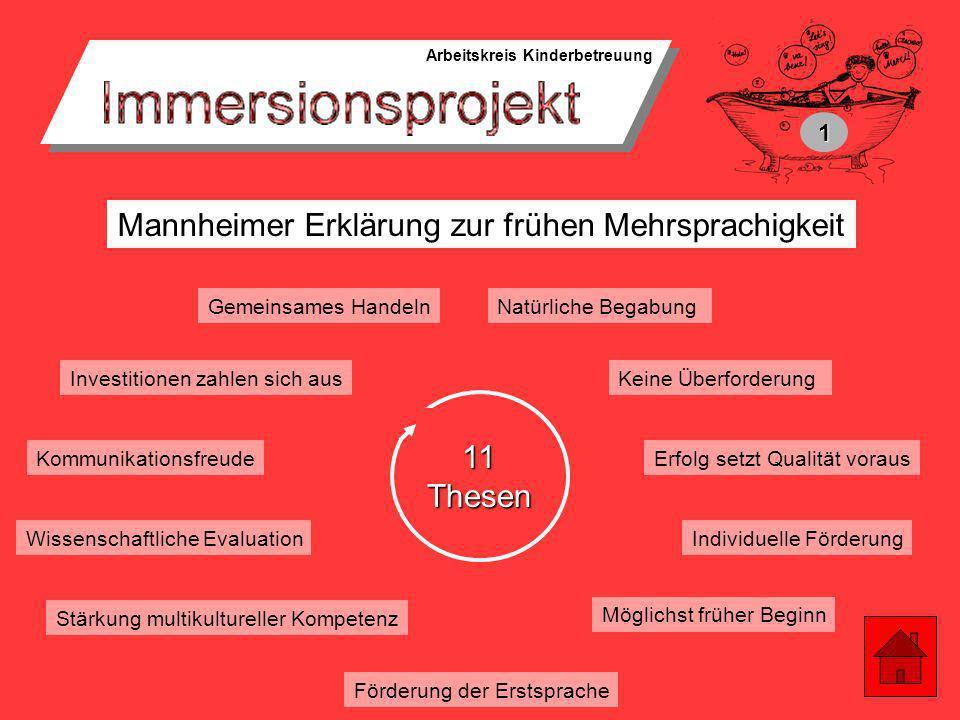 Arbeitskreis Kinderbetreuung Etappenziel 1: Das Immersionsprojekt in Weingarten mit einem ganzheitlichen, ausgereiften Konzept nach außen hin, z.