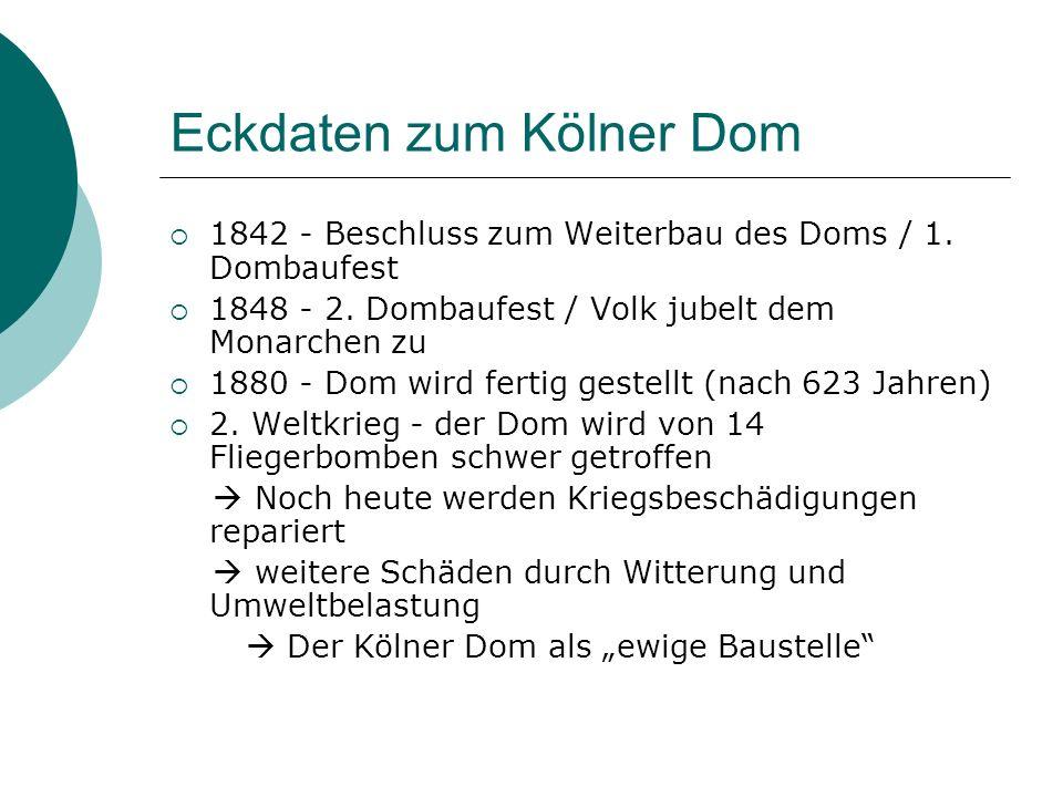 Eckdaten zum Kölner Dom 1842 - Beschluss zum Weiterbau des Doms / 1. Dombaufest 1848 - 2. Dombaufest / Volk jubelt dem Monarchen zu 1880 - Dom wird fe