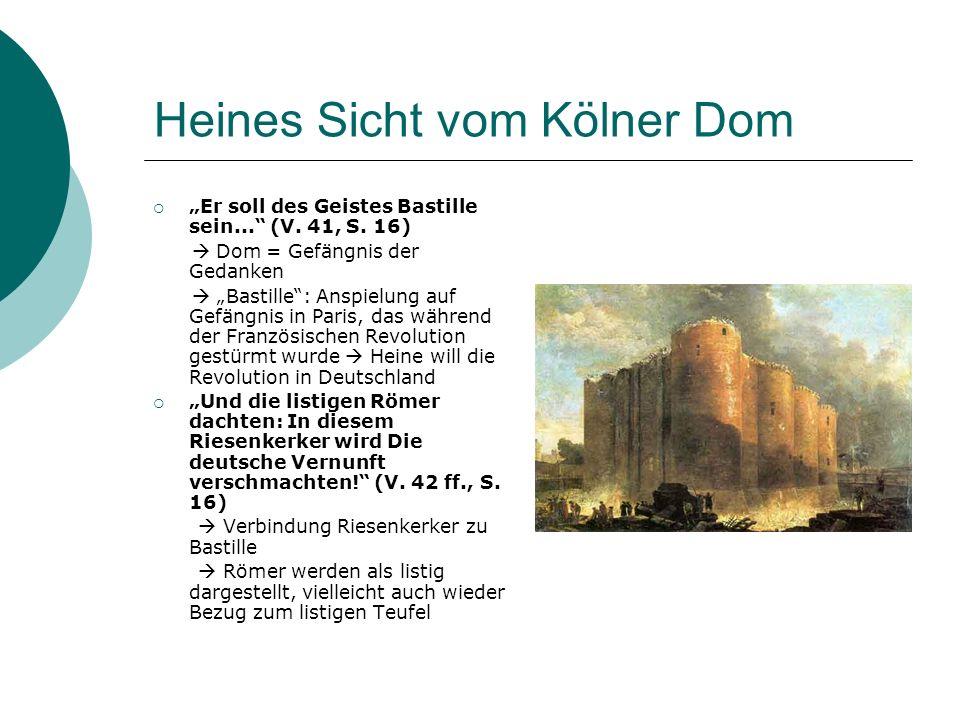 Heines Sicht vom Kölner Dom Er soll des Geistes Bastille sein... (V. 41, S. 16) Dom = Gefängnis der Gedanken Bastille: Anspielung auf Gefängnis in Par