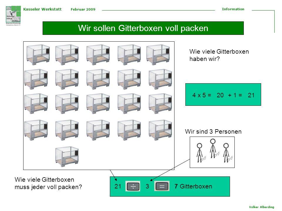 Kasseler Werkstatt Februar 2009 Information Volker Alberding Wir sollen Gitterboxen voll packen Wie viele Gitterboxen haben wir.