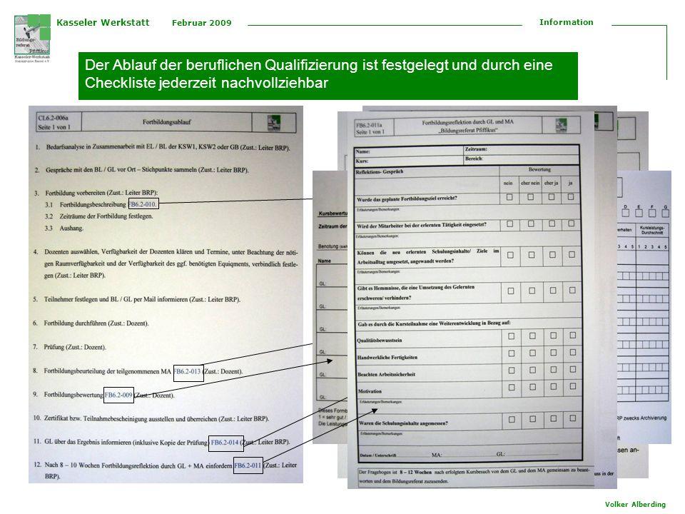 Kasseler Werkstatt Februar 2009 Information Volker Alberding Der Ablauf der beruflichen Qualifizierung ist festgelegt und durch eine Checkliste jederz