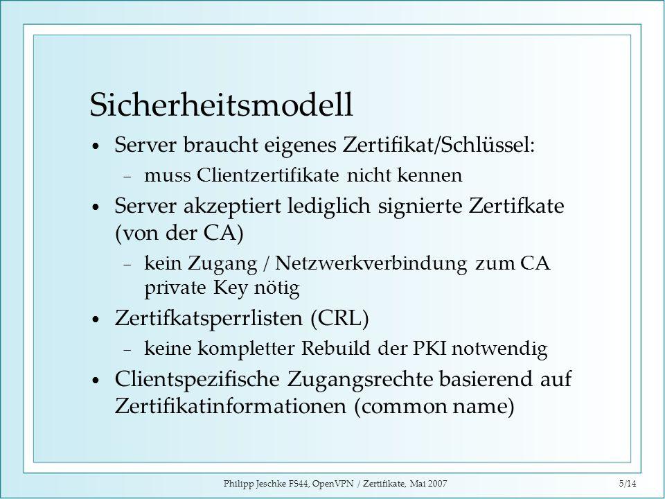 Philipp Jeschke FS44, OpenVPN / Zertifikate, Mai 20075/14 Sicherheitsmodell Server braucht eigenes Zertifikat/Schlüssel: muss Clientzertifikate nicht