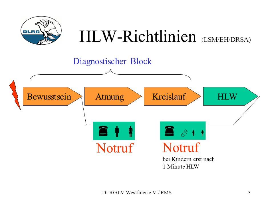DLRG LV Westfalen e.V. / FMS3 HLW-Richtlinien (LSM/EH/DRSA) Notruf bei Kindern erst nach 1 Minute HLW HLWBewusstseinAtmungKreislauf Diagnostischer Blo