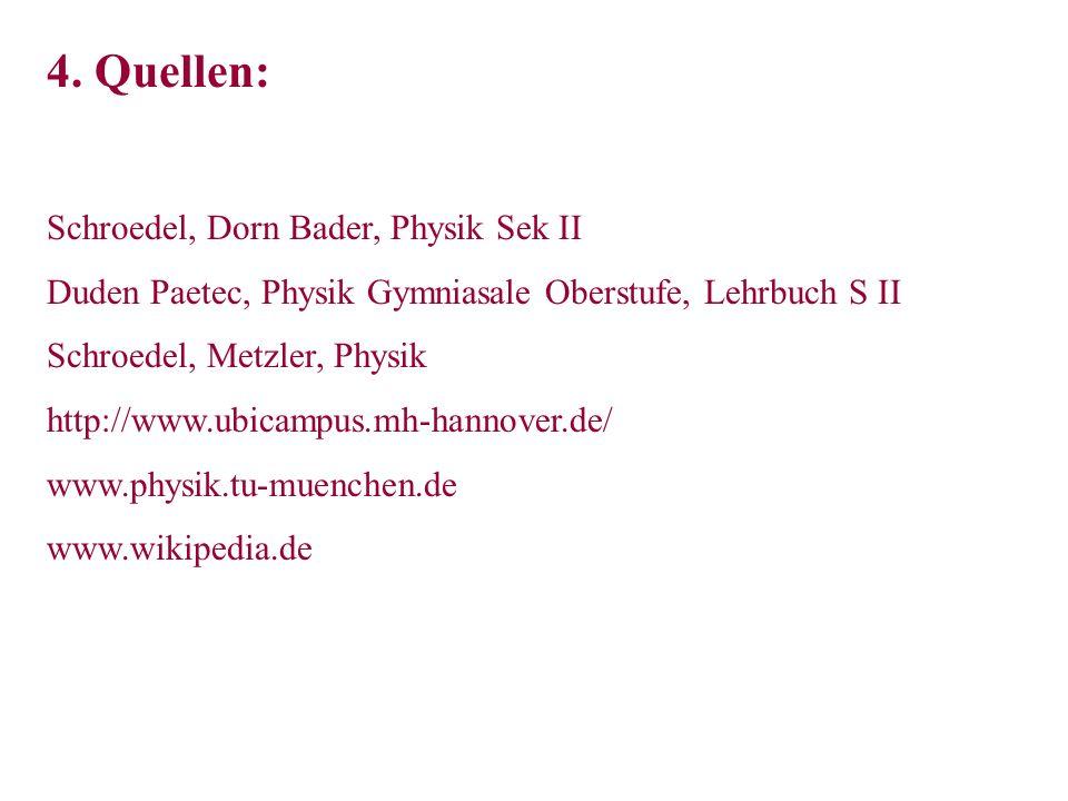 4. Quellen: Schroedel, Dorn Bader, Physik Sek II Duden Paetec, Physik Gymniasale Oberstufe, Lehrbuch S II Schroedel, Metzler, Physik http://www.ubicam