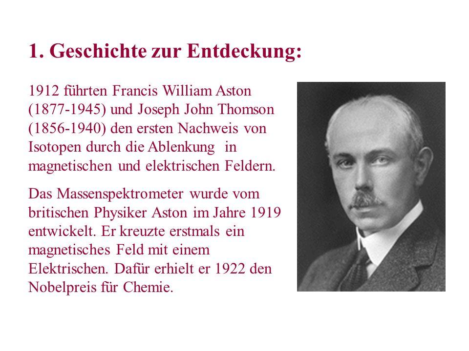 1912 führten Francis William Aston (1877-1945) und Joseph John Thomson (1856-1940) den ersten Nachweis von Isotopen durch die Ablenkung in magnetische