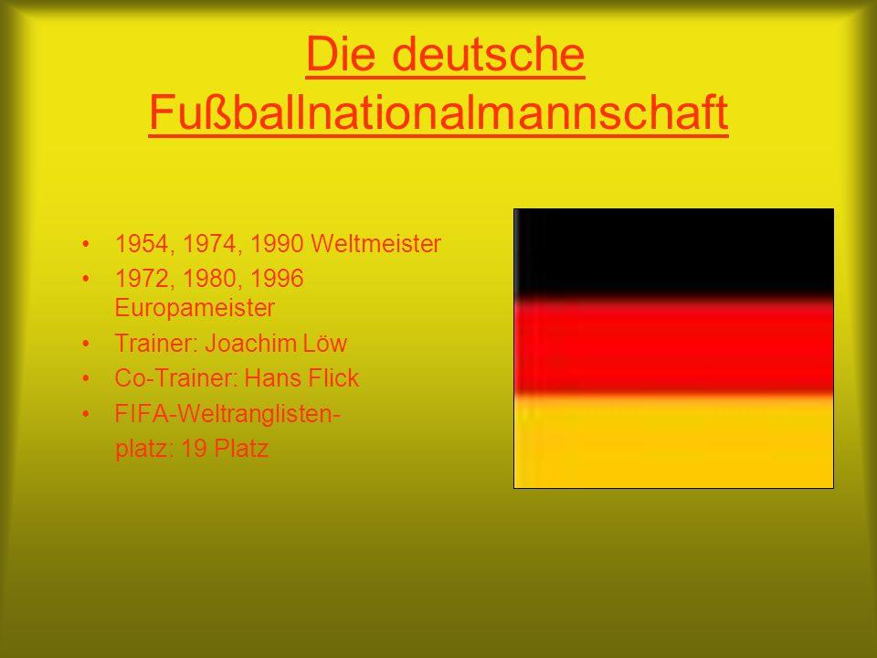 Die deutsche Fußballnationalmannschaft 1954, 1974, 1990 Weltmeister 1972, 1980, 1996 Europameister Trainer: Joachim Löw Co-Trainer: Hans Flick FIFA-Weltranglisten- platz: 19 Platz