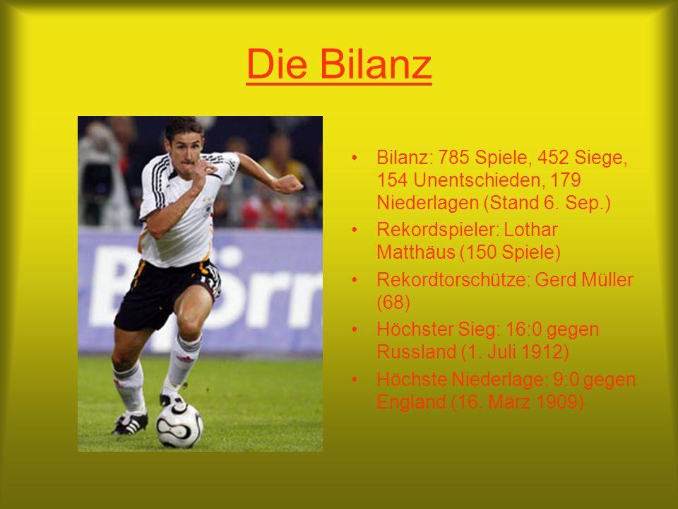Die Bilanz Bilanz: 785 Spiele, 452 Siege, 154 Unentschieden, 179 Niederlagen (Stand 6.
