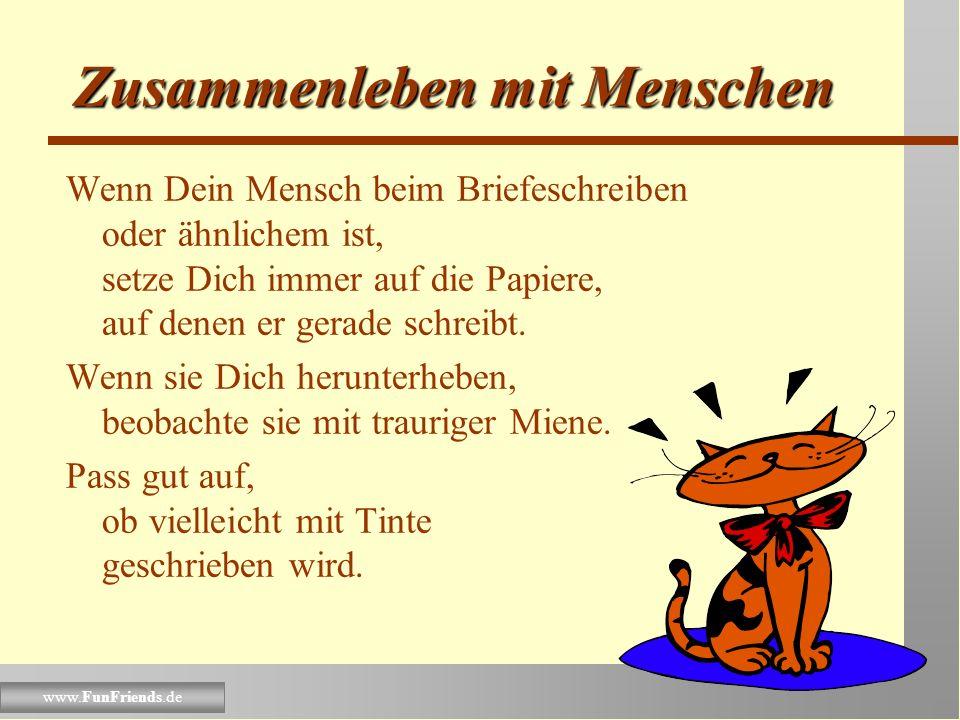 www.FunFriends.de Zusammenleben mit Menschen Falls Dein Mensch strickt, setze Dich ganz brav auf seinen Schoß. Vergiss aber nicht, ab und zu die Stric