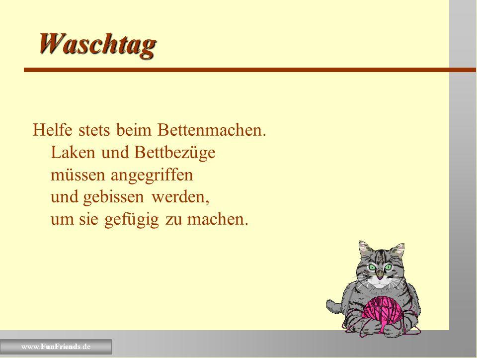 www.FunFriends.de Waschtag Setze Dich niemals in den Waschkorb mit dreckiger Wäsche, bis alles sauber ist und vielleicht gar warm vom Trockner. Dieses