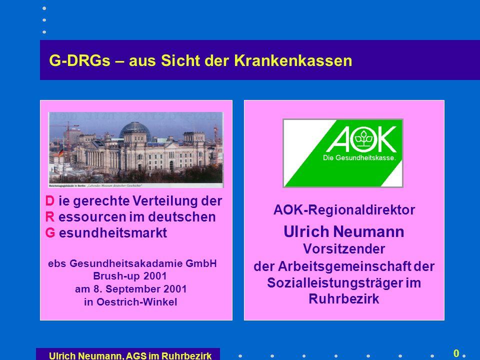 Ulrich Neumann, AGS im Ruhrbezirk 20 G-Relativgewichte = Kostengewichte 1/2 Ermittlung der Kostengewichte Auf der Basis deutscher Daten – keine Übernahme aus dem Ausland Mittelfristig Beteiligung aller Krankenhäuser Zunächst Stichprobe von 50 bis 100 Krankenhäusern (nur für die Gewichtung, nicht für die Ermittlung des Landes-Basisfallwertes) Kalkulationsleitfaden, Version 1.0, von der KPMG erstellt, liegt seit dem 2.4.2001 vor Retrospektiv auf Jahresbasis (Sonderfall 2001, Beginn der Leistungserfassung für die Kalkulation: 1.7.2001)