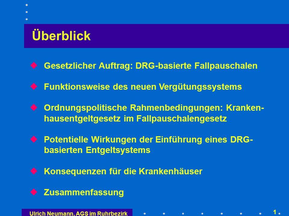 Ulrich Neumann, AGS im Ruhrbezirk 11 Patientenklassifikation 2/2 Für die sogenannten Frühumsteiger gilt für das Jahr 2003 der australische DRG-Fallpauschalenkatalog, aber keine Übernahme der Bewertungsrelationen