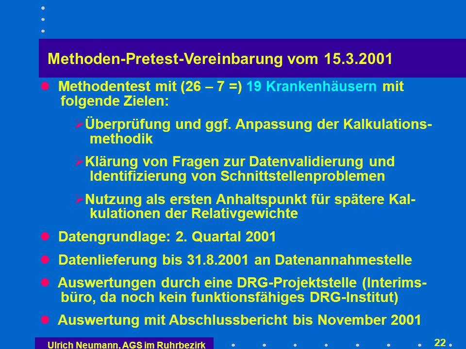 Ulrich Neumann, AGS im Ruhrbezirk 21 G-Relativgewichte = Kostengewichte 2/2 Jährliche Anpassung Krankenhäuser ermitteln nur Rohfallkosten.