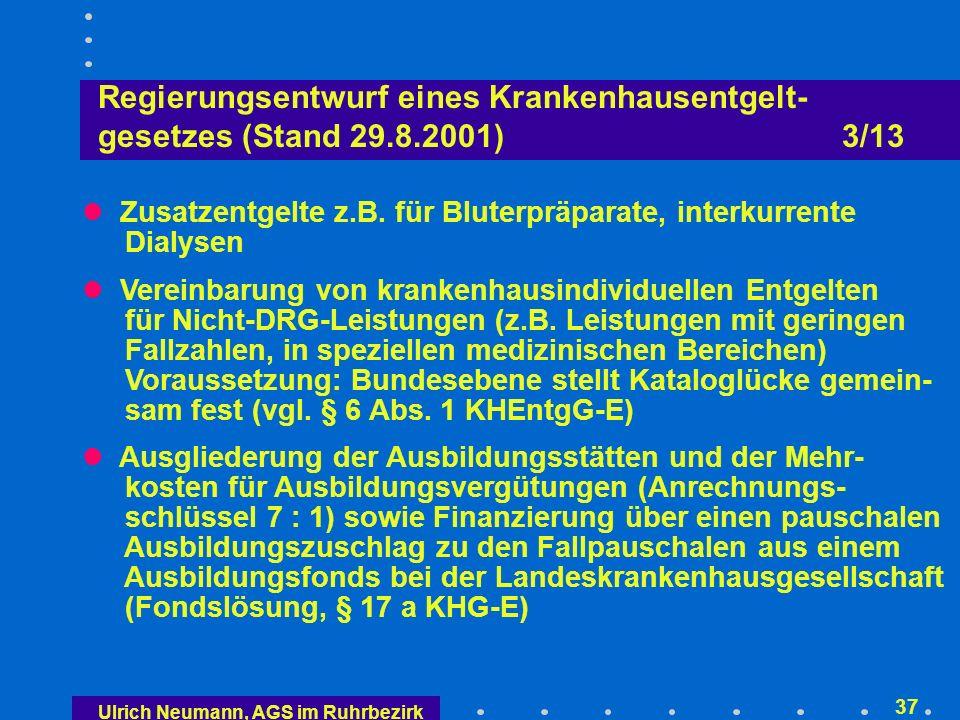 Ulrich Neumann, AGS im Ruhrbezirk 36 Regierungsentwurf eines Krankenhausentgelt- gesetzes (Stand 29.8.2001) 2/13 Budgetneutrale Phase (2003/04) Budgetvereinbarungen nach altem Recht (§ 6 BPflV) und damit Steuerung der Ausgabenentwicklung über die Zuwachsbegrenzung durch die Grundlohnrate nach § 71 SGB V und das Erfordernis der Zustimmung der Krankenkassen bei Veränderungen der Leistungsstruk- turen und der Fallzahlen (§ 3 KHEntgG-E) derzeitiger Krankenhausvergleich entfällt ab 2003; zur Berücksichtigung von Leistungsveränderungen können DRG-Betriebsvergleiche herangezogen werden Krankenhausindividuelle Basisfallwerte; keine bundes- oder landesweiten Basisfallwerte Krankenhausindividuelle DRG-Preise 2003/04 gelten nur für die Abrechnung
