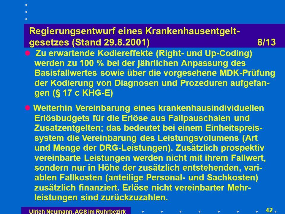 Ulrich Neumann, AGS im Ruhrbezirk 41 Regierungsentwurf eines Krankenhausentgelt- gesetzes (Stand 29.8.2001) 7/13 Konvergenzphase (2005/06) Vereinbarung eines landesweiten geltenden Basisfall- wertes, der das Preisniveau der Fallpauschalen und Zusatzentgelte festlegt, unter strenger Beachtung des Grundsatzes der Beitragssatzstabilität Möglichkeit für die Selbstverwaltung, bei Fallpauschalen mit auffälliger Mengenentwicklung Absenkung in den Bewertungsrelationen vorzunehmen (Kann-Vorschrift)