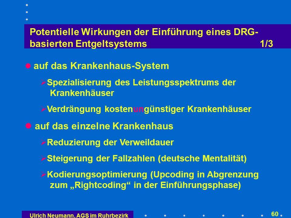Ulrich Neumann, AGS im Ruhrbezirk 59 Überblick Gesetzlicher Auftrag: DRG-basierte Fallpauschalen Funktionsweise des neuen Vergütungssystems Ordnungspolitische Rahmenbedingungen: Kranken- hausentgeltgesetz im Fallpauschalengesetz Potentielle Wirkungen der Einführung eines DRG- basierten Entgeltsystems Konsequenzen für die Krankenhäuser Zusammenfassung