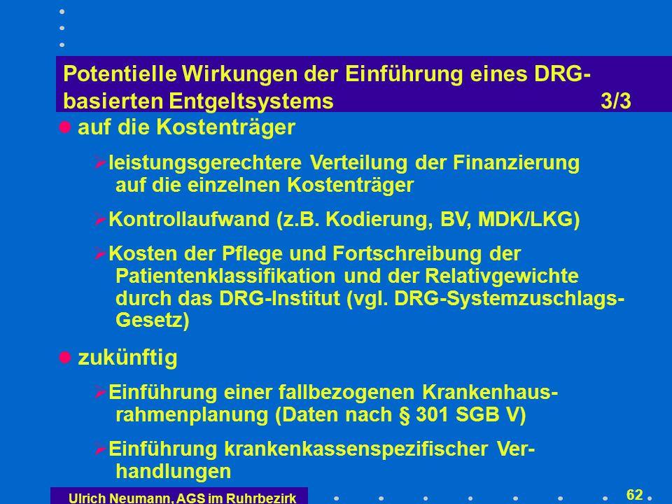 Ulrich Neumann, AGS im Ruhrbezirk 61 Potentielle Wirkungen der Einführung eines DRG- basierten Entgeltsystems 2/3 Einführung der patienten-/fallgruppenbezogenen Kostenträgerrechnung Abkehr von der funktionellen und Hinwendung zur objekt-, d.h.