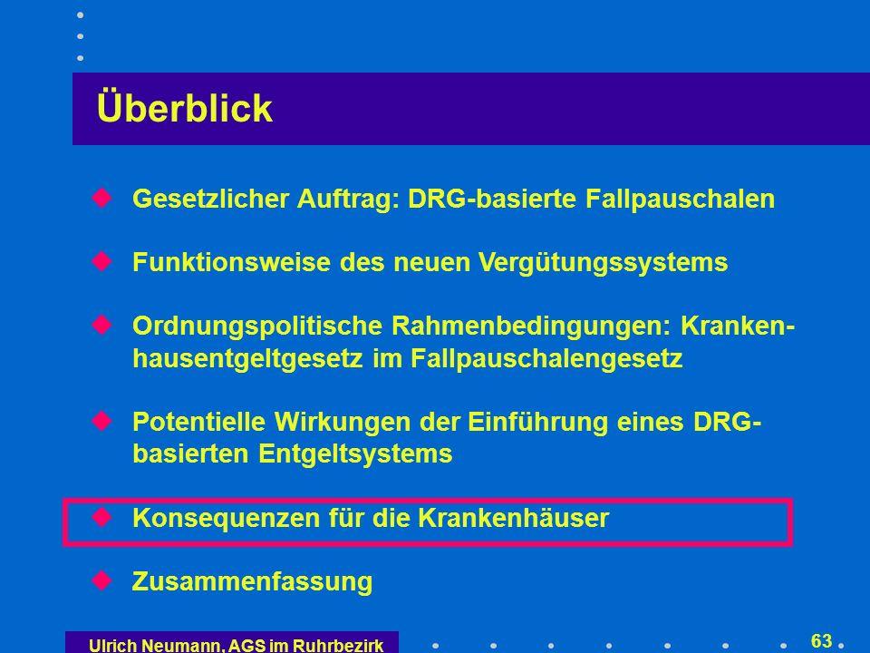 Ulrich Neumann, AGS im Ruhrbezirk 62 auf die Kostenträger leistungsgerechtere Verteilung der Finanzierung auf die einzelnen Kostenträger Kontrollaufwand (z.B.