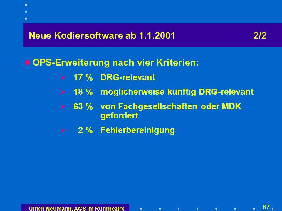 Ulrich Neumann, AGS im Ruhrbezirk 66 Neue Kodiersoftware ab 1.1.2001 1/2 ICD-10 - SGB V, Version 2.0, Stand 15.11.2000 neu 12.421 mögliche Schlüssel bisher 8.082 mögliche Schlüssel WHO 12.420 Schlüssel OPS-301, Version 2.0, Stand 15.11.2000 neu25.686 mögliche Schlüssel bisher 7.749 mögliche Schlüssel USA 3.545 mögliche Schlüssel Beide sind seit dem 1.1.2001 einzusetzen
