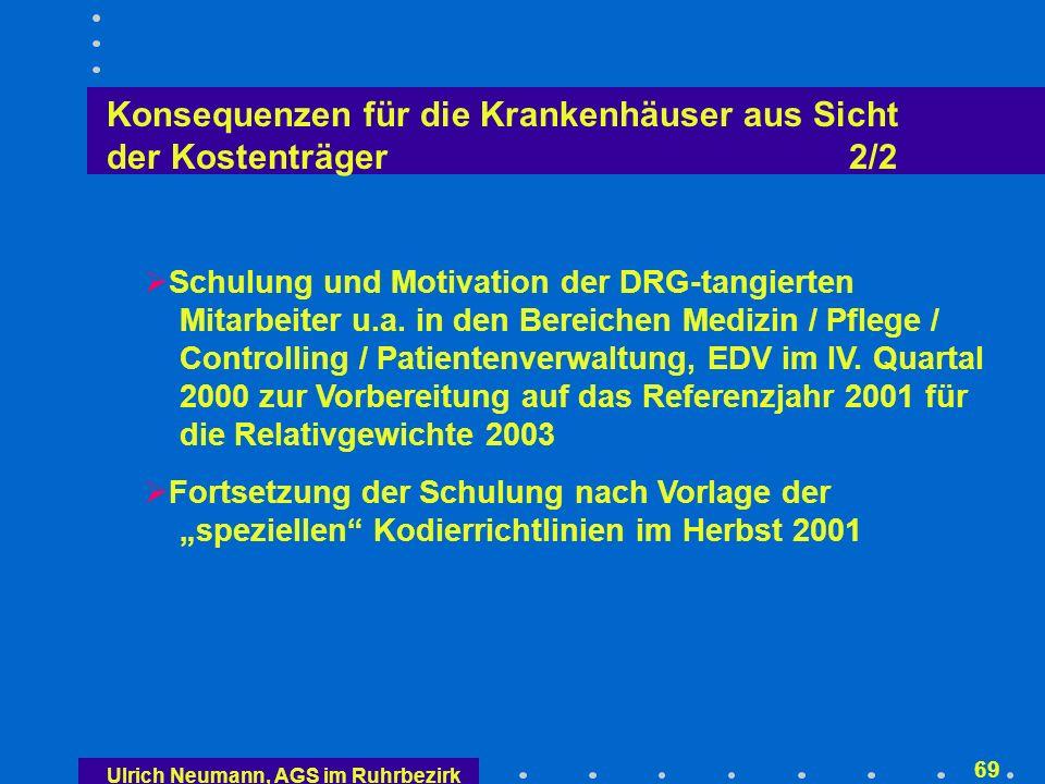 Ulrich Neumann, AGS im Ruhrbezirk 68 Konsequenzen für die Krankenhäuser aus Sicht der Kostenträger 1/2 (weitere) Preisanpassungen in 2002 (quasi Fürsorge- pflicht der Kostenträger) (weitere) Kostenoptimierung, z.B.