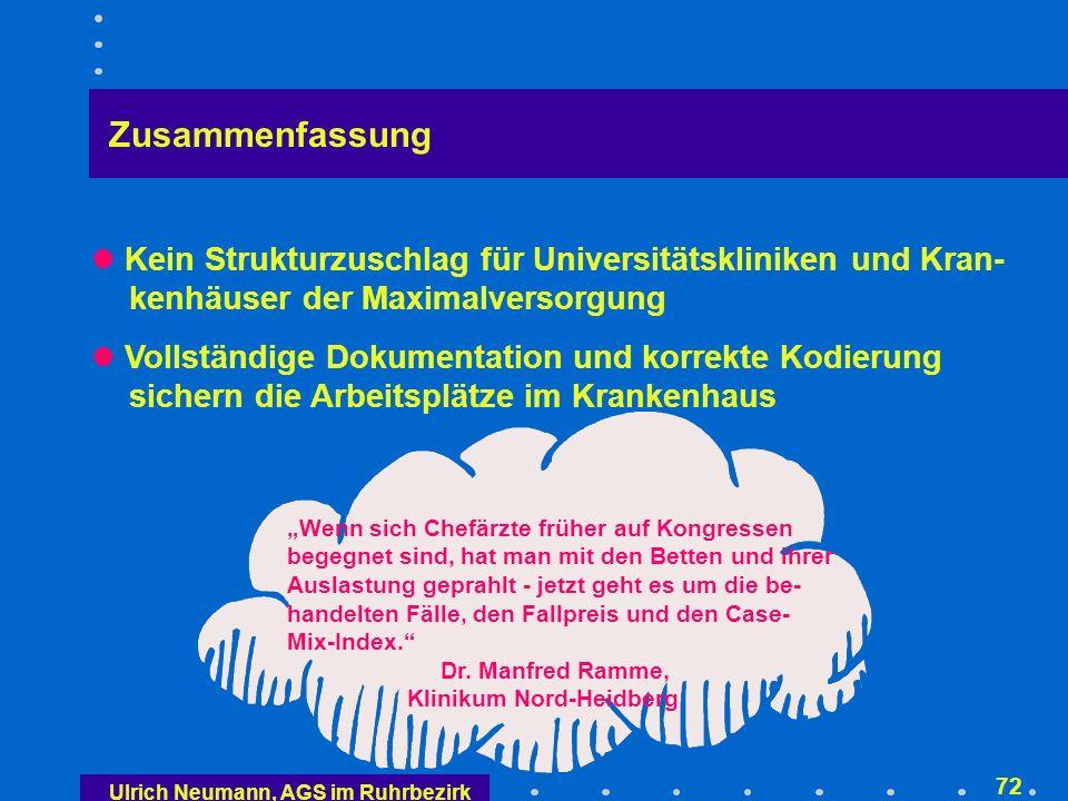 Ulrich Neumann, AGS im Ruhrbezirk 71 Zusammenfassung Mit den G-DRGs kommt die leistungsorientierte Vergütung Für die Krankenkassen ist der Grundsatz der Beitrags- satzstabilität auch für das neue Vergütungssystem ab 1.1.2003 unabdingbare Geschäftsgrundlage Die DRG-Abrechnung beginnt 2003/04 budgetneutral Einheits- oder Höchstpreise bestimmen die Diskussion in den nächsten 4 Monaten Für die geplante Konvergenzphase (2005 bis 2006) wird eine Rechtsgrundlage (KHG, KHEntG) geschaffen