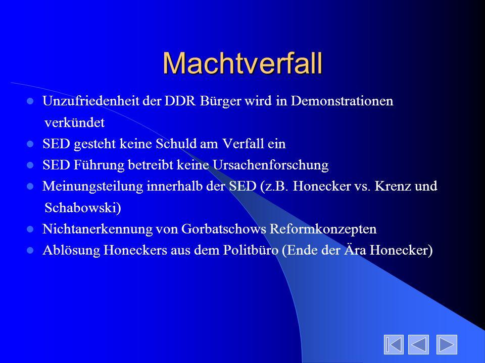 Machtverfall Unzufriedenheit der DDR Bürger wird in Demonstrationen verkündet SED gesteht keine Schuld am Verfall ein SED Führung betreibt keine Ursac