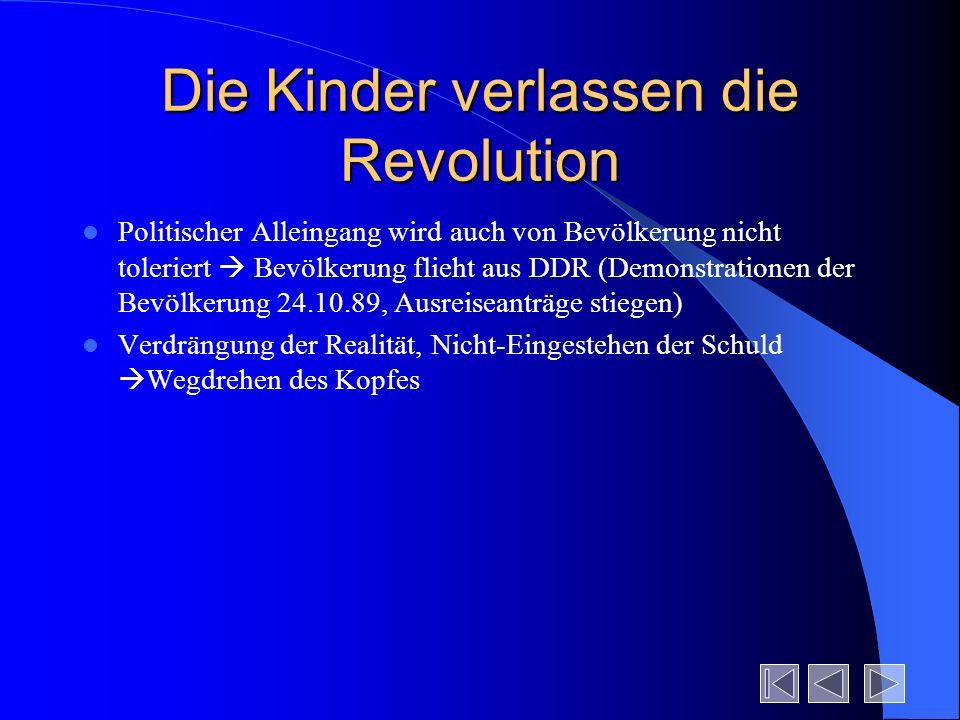 Die Kinder verlassen die Revolution Politischer Alleingang wird auch von Bevölkerung nicht toleriert Bevölkerung flieht aus DDR (Demonstrationen der B
