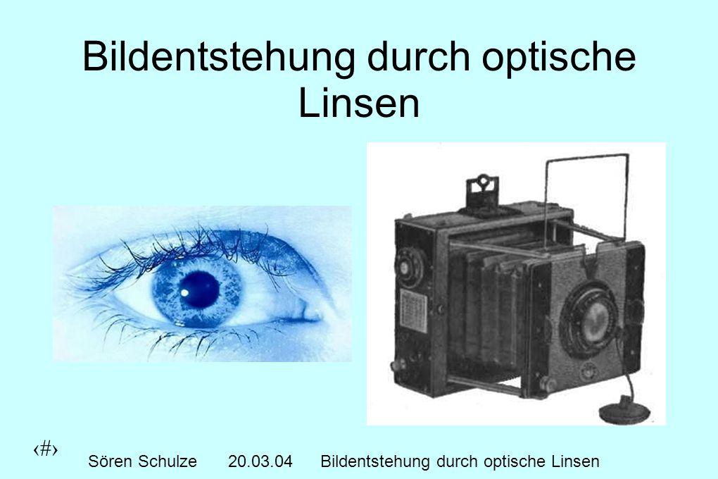 1 Sören Schulze20.03.04Bildentstehung durch optische Linsen