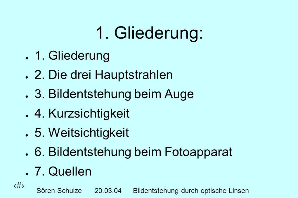 2 Sören Schulze20.03.04Bildentstehung durch optische Linsen 1.
