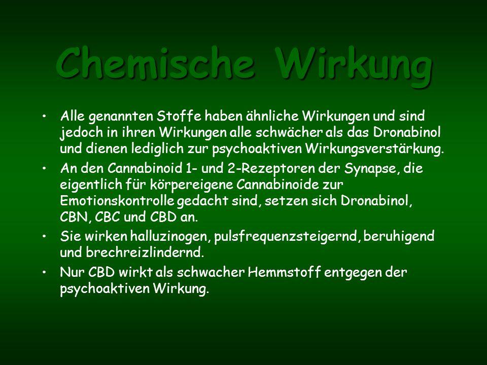 Vorkommen THC-Carbonsäure entsteht durch Alterungsprozesse im Harz des Hanfes, bei der Decarboxylierung. Sie kommt mit 400 anderen Verbindungen im Har