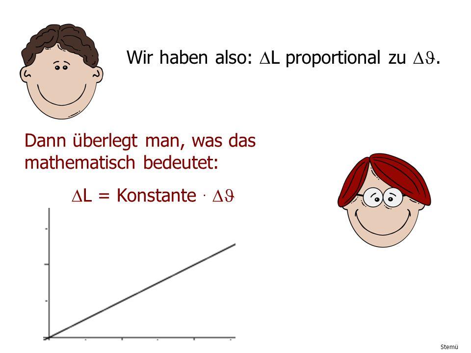 Stemü Wir haben also: L proportional zu. Dann überlegt man, was das mathematisch bedeutet: L = Konstante.