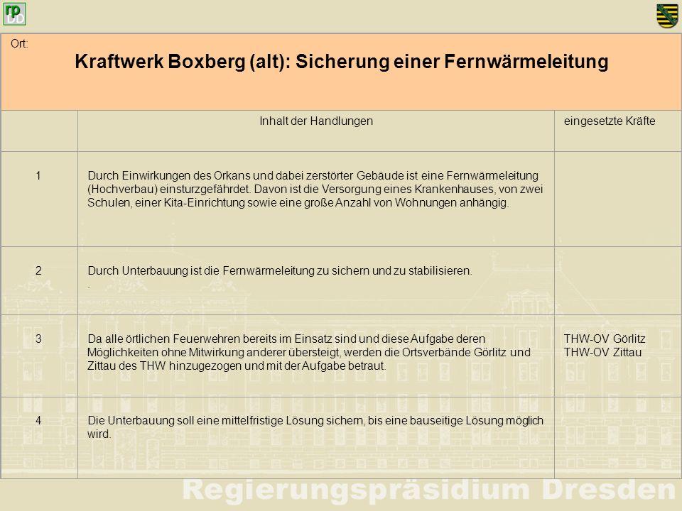 Ort: Kraftwerk Boxberg (alt): Sicherung einer Fernwärmeleitung Inhalt der Handlungeneingesetzte Kräfte 1 Durch Einwirkungen des Orkans und dabei zerst