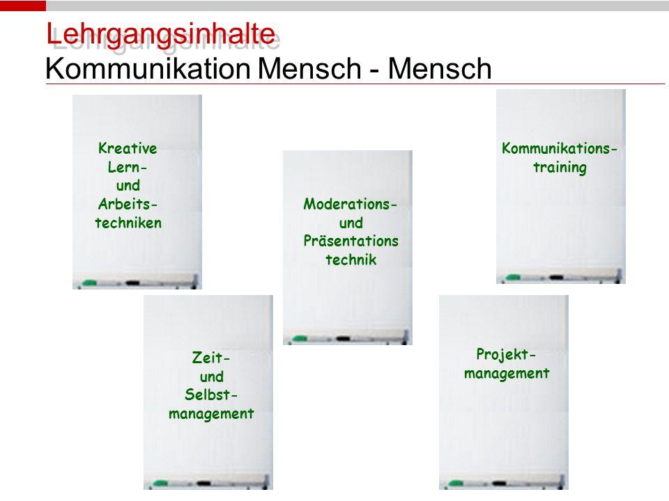 Lehrgangsinhalte Kommunikation Mensch - Mensch Kreative Lern- und Arbeits- techniken Moderations- und Präsentations technik Kommunikations- training Zeit- und Selbst- management Projekt- management