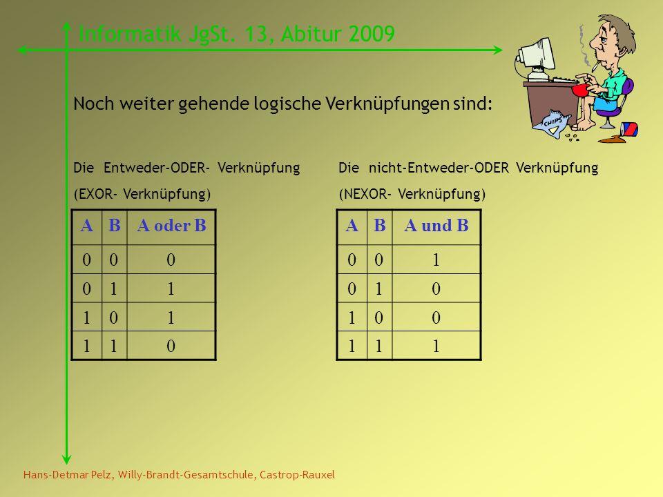Hans-Detmar Pelz, Willy-Brandt-Gesamtschule, Castrop-Rauxel Informatik JgSt. 13, Abitur 2009 Noch weiter gehende logische Verknüpfungen sind: ABA und