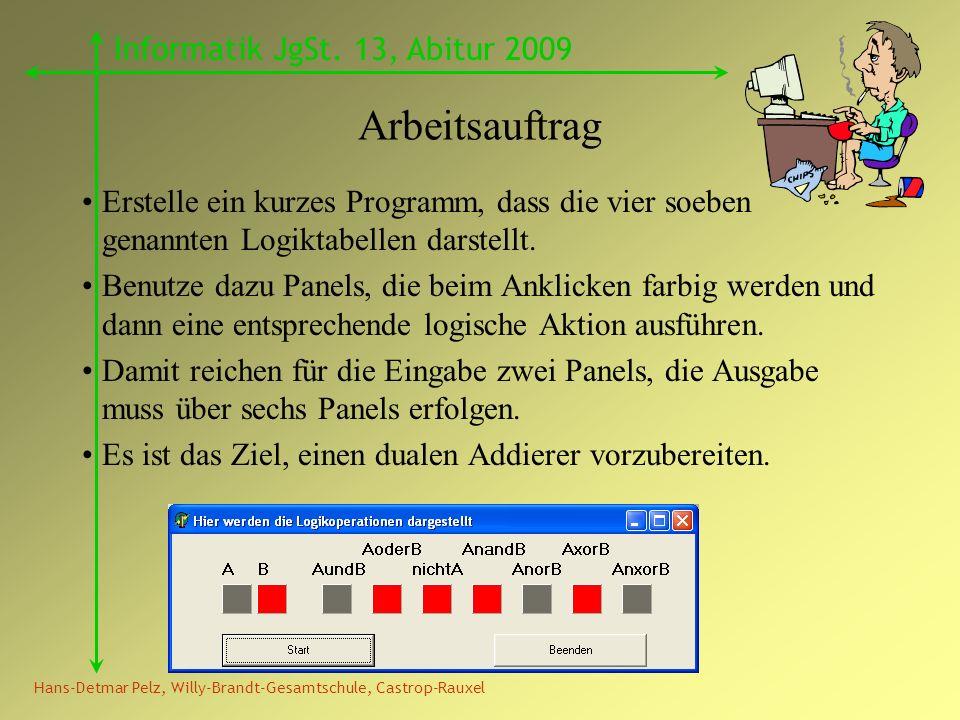 Hans-Detmar Pelz, Willy-Brandt-Gesamtschule, Castrop-Rauxel Informatik JgSt. 13, Abitur 2009 Arbeitsauftrag Erstelle ein kurzes Programm, dass die vie
