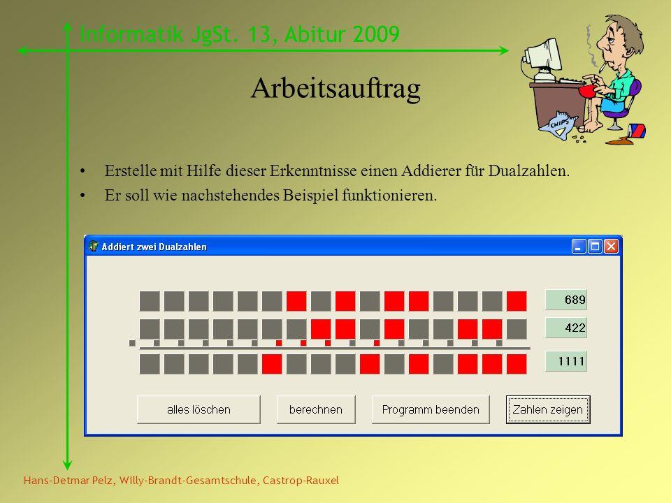 Hans-Detmar Pelz, Willy-Brandt-Gesamtschule, Castrop-Rauxel Informatik JgSt. 13, Abitur 2009 Arbeitsauftrag Erstelle mit Hilfe dieser Erkenntnisse ein