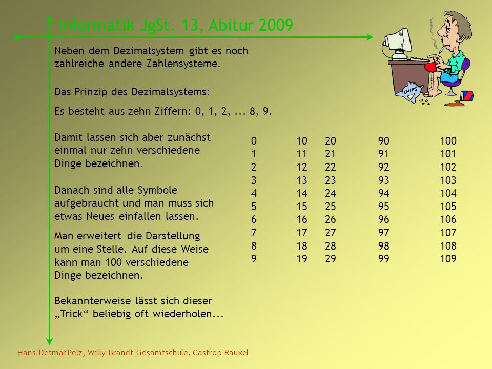 Hans-Detmar Pelz, Willy-Brandt-Gesamtschule, Castrop-Rauxel Informatik JgSt. 13, Abitur 2009 Neben dem Dezimalsystem gibt es noch zahlreiche andere Za