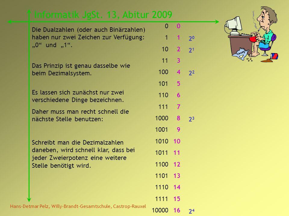 Hans-Detmar Pelz, Willy-Brandt-Gesamtschule, Castrop-Rauxel Informatik JgSt. 13, Abitur 2009 Die Dualzahlen (oder auch Binärzahlen) haben nur zwei Zei