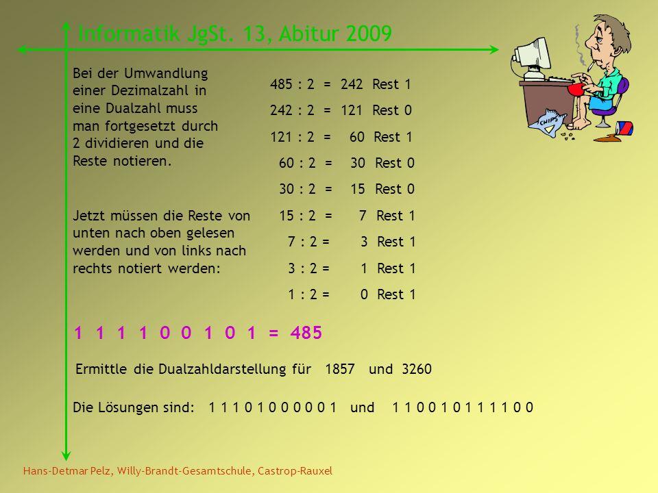 Hans-Detmar Pelz, Willy-Brandt-Gesamtschule, Castrop-Rauxel Informatik JgSt. 13, Abitur 2009 Bei der Umwandlung einer Dezimalzahl in eine Dualzahl mus