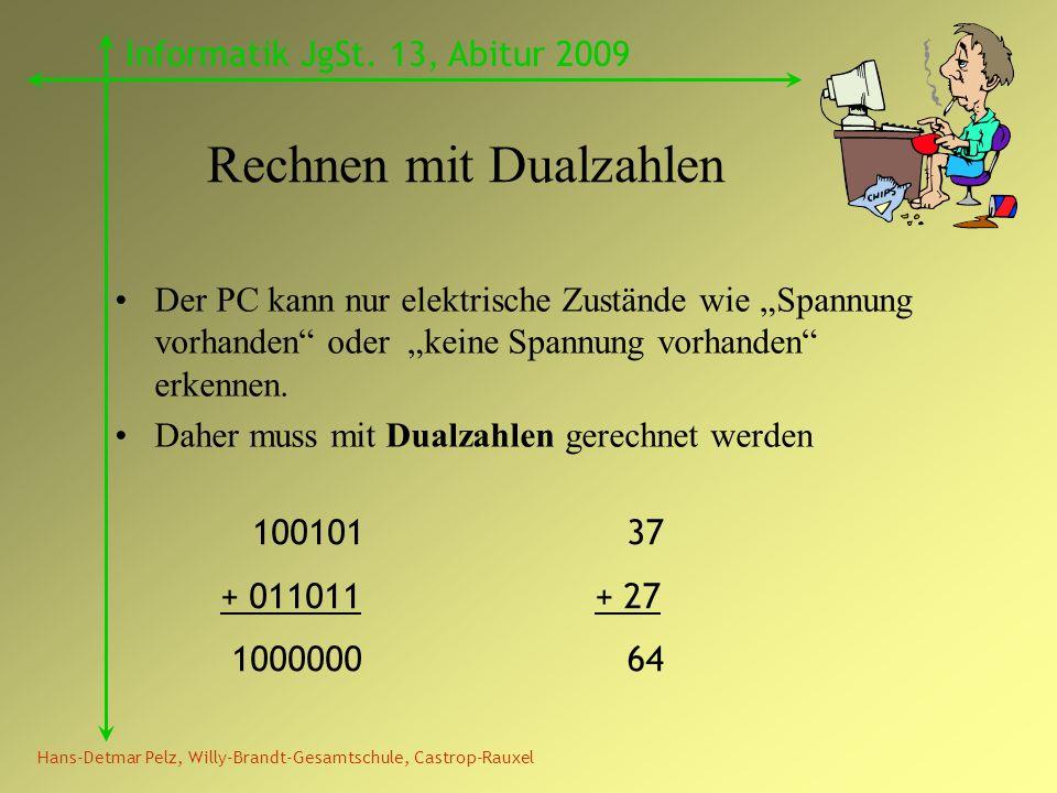 Hans-Detmar Pelz, Willy-Brandt-Gesamtschule, Castrop-Rauxel Informatik JgSt. 13, Abitur 2009 Rechnen mit Dualzahlen Der PC kann nur elektrische Zustän