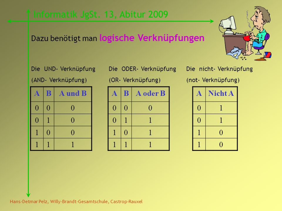 Hans-Detmar Pelz, Willy-Brandt-Gesamtschule, Castrop-Rauxel Informatik JgSt. 13, Abitur 2009 Dazu benötigt man logische Verknüpfungen ABA und B 000 01