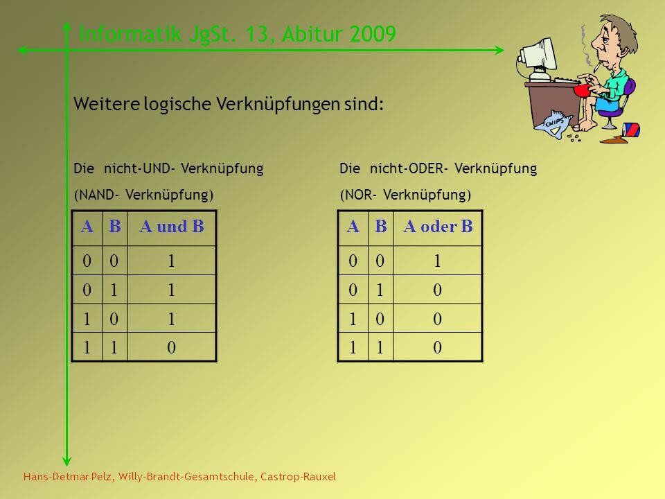 Hans-Detmar Pelz, Willy-Brandt-Gesamtschule, Castrop-Rauxel Informatik JgSt. 13, Abitur 2009 Weitere logische Verknüpfungen sind: ABA und B 001 011 10