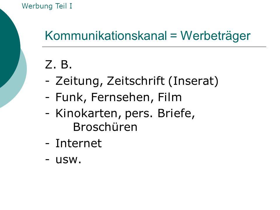 Kommunikationskanal = Werbeträger Z. B. -Zeitung, Zeitschrift (Inserat) - Funk, Fernsehen, Film - Kinokarten, pers. Briefe, Broschüren -Internet -usw.